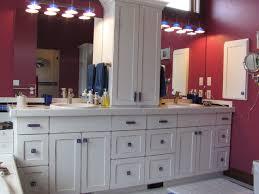 Contemporary Bathroom Vanity Cabinets White Bathroom Vanity With Uneek Glass Cabinet Hardware