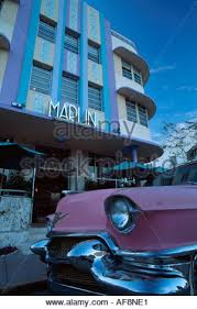 pink cadillac in the art deco quarter of south beach miami