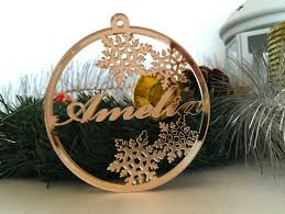 personalised christmas name bauble tree decorations gold