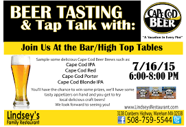 tasting and tap talk at lindsey u0027s restaurant cape cod beer