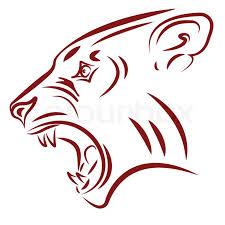 aggressive wildcat fangs tattoo vector illustration stock vector