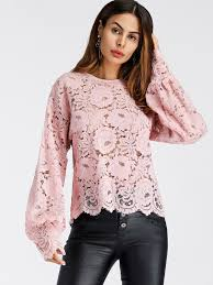 sleeve lace blouse lantern sleeve hollow lace top shein sheinside