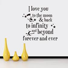 Quotes Wall Decor I Love You To The Moon And Back Quotes Wall Stickers Decal Words