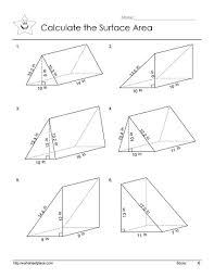 surface area of a triangular prism worksheet free worksheets