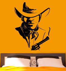 Home Interior Cowboy Pictures Cowboy Wall Stickers American Wild West Poster Decal Vinyl Cool