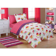 Bed Furniture Mainstays Kids U0027 Coordinated Bed In A Bag Pink Horsey Walmart Com