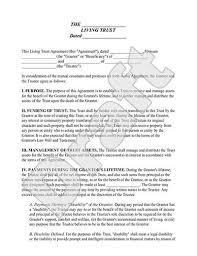 living trust form sample living trust template u0026 definition