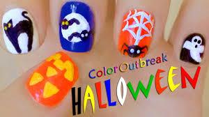 halloween nail art designs cute pumpkin black cat moon bats