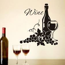 Grapes And Wine Home Decor Two Clusters Of Grapes And Wine Bottle Diy High Quality Vinyl