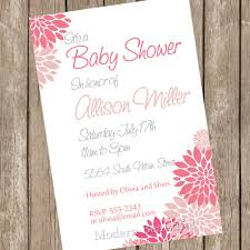 baby shower invitation pink white flowers printable