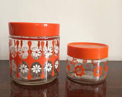 funky kitchen canisters 70s canisters etsy