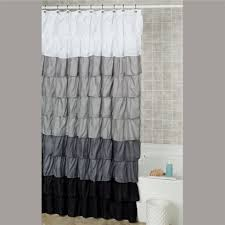 Touch Of Class Shower Curtains Vintage Ticking Stripe Shower Curtain With Ruffles 3 Sizes With