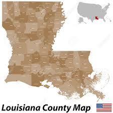 Louisiana Map Of Parishes by A Large Detailed Map Of The State Of Louisiana With All Parishes