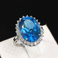 big stone rings images Natural blue topaz stone ring real 925 sterling silver rings jpg