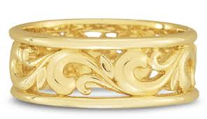 gold bands carved paisley wedding band in 14k yellow gold