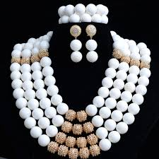 white beads necklace images White coral african traditional wedding beads jewelry set 4 layers jpg