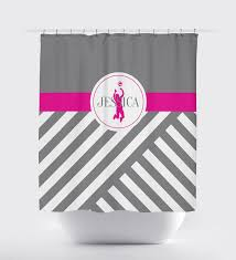 Dark Pink Shower Curtain by Volleyball Player Shower Curtain With Monogram And Silhouette