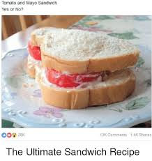 Sandwich Meme - tomato and mayo sandwich yes or no 13k comments 14k shares the