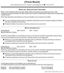 Sample Format Of Resume For Teachers Download Sample Special Education Teacher Resume