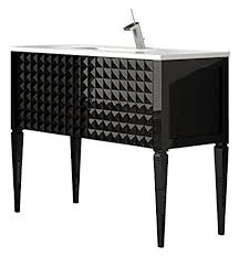 Ballantyne Vanity Diamond 32 Inch Wide Bathroom Vanity Cabinet Set Black High Gloss