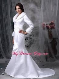 sleeves beaded mermaid winter wedding bridal gown with faux fur collar