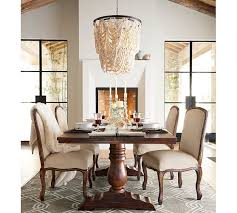 How To Decorate A Chandelier With Beads Amelia Wood Bead Chandelier Pottery Barn