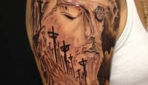 coolest jesus face tattoo on men shoulder u2013 truetattoos