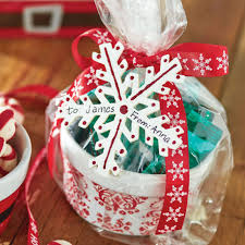 diy christmas treat filled ceramic ramekin gift wrapping idea
