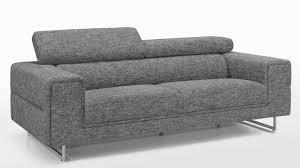 tissu canapé canapé moderne 3 places tissu gris avec têtières ken lestendances fr