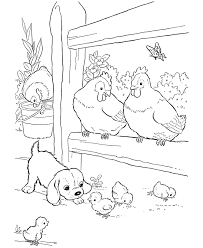 farm animals coloring page farm animal chicken coloring page baby and a puppy