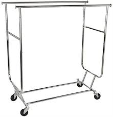 collapsible garment rack dual hang rail stand with wheels