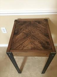 Wood Table With Metal Legs Diy Pallet Chevron End Table With Metal Legs Wooden Pallet Furniture