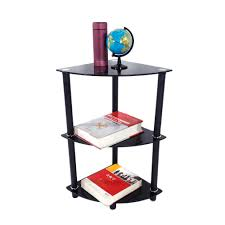 3 shelf corner bookcase 3 tier glass side end table stand home display shelf corner
