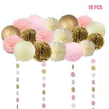 pink garland 19 pcs pink and gold tissue paper flowers pom poms lanterns and