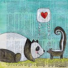 panda u0026 skunk love print julene ewert