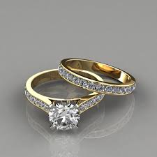 yellow gold bridal sets cathedral engagement ring and wedding band set puregemsjewels