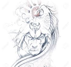 tattoo art sketch of a japanese warrior stock photo picture and