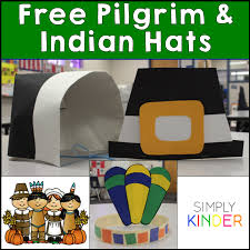 classroom thanksgiving feast with pilgrim indian hat freebie