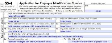 how to complete irs form ss 4 arizona llc law