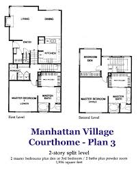 homes with 2 master bedrooms manhattan court home plan 3 floorplan