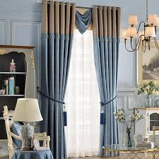 Jacquard Curtain Modern Blue Floral Jacquard Curtains For Bedroom
