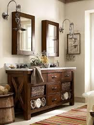 Pottery Barn Mirrored Vanity Benchwright Double Sink Console Rustic Mahogany Finish Pottery