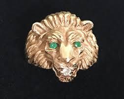 antique lion ring holder images Gold lion ring etsy jpg