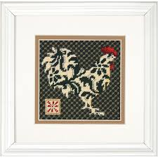 dimensions black and white rooster needlepoint kit 71 07236