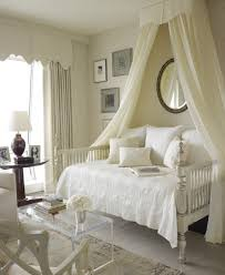 bedroom artistic metal white canopy bed with wrought iron