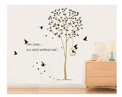 e love hot sale our love is a story without end quote tall tree e love hot sale our love is a story without end quote tall tree with birds wall decal leaves wall sticker decor removable mural amazon co uk kitchen