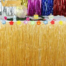 Luau Party Table Decorations Hibiscus Artificial Grass Table Skirt For Hawaiian Party