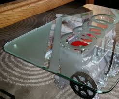 vw engine table with lights and etched glass 6 steps