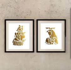 ancient egyptian home decor egyptian gold set of 2 prints silhouettes of egyptian