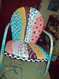 hand made metal handpainted multi colored yard patio chair by i